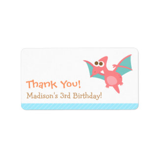 Thank You, Pterodactyl dinosaur theme party Address Label