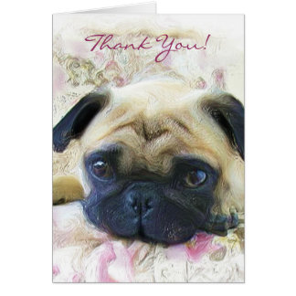 Thank You pug greeting card