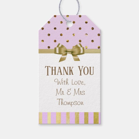 Thank You Purple and Gold Wedding Gift Tag