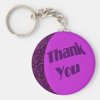 Thank You Purple Basic Round Button Key Ring