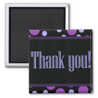 Thank You Purple Dots Black Background Magnet