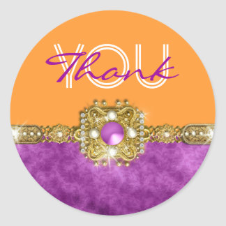 Thank you purple orange hollywood round sticker