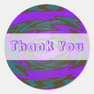 Thank you purple teal round sticker