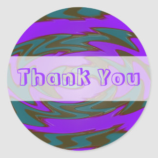 Thank you purple teal classic round sticker