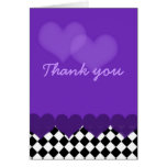 Thank you purple with checks and hearts greeting card