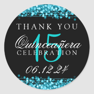 Thank You Quinceanera Birthday Party Sparkles Turq Classic Round Sticker