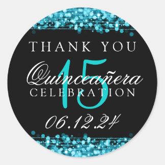 Thank You Quinceanera Birthday Party Sparkles Turq Round Sticker