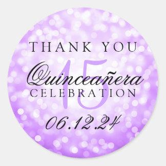 Thank You Quinceanera Birthday Purple Bokeh Lights Round Sticker