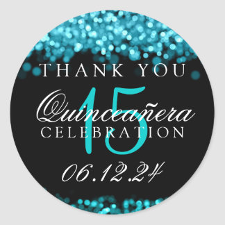 Thank You Quinceanera Birthday Turquoise Lights Round Sticker
