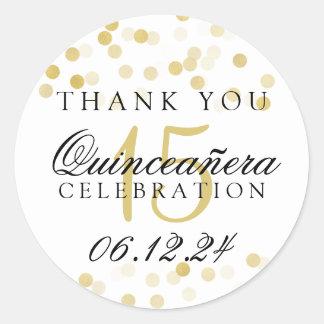 Thank You Quinceanera Gold Foil Glitter Lights Round Sticker