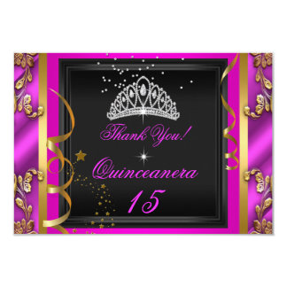 Thank You Quinceanera Hot Pink Gold Birthday Party 9 Cm X 13 Cm Invitation Card