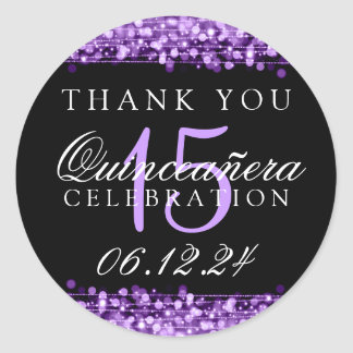 Thank You Quinceanera Party Sparkles Purple Round Sticker