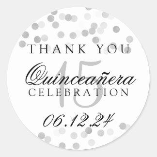 Thank You Quinceanera Silver Foil Glitter Lights Round Sticker