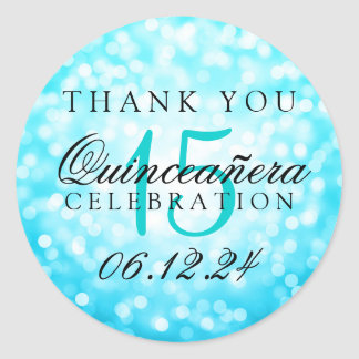 Thank You Quinceanera Turquoise Bokeh Lights Round Sticker