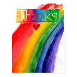 thank you rainbow postcard