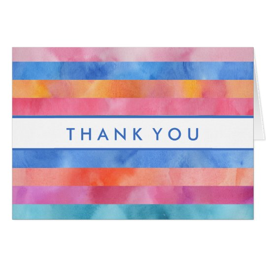 Thank You | Rainbow Watercolor Stripes Card