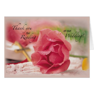 Thank You. Reading at Our Wedding, Rose, Religious Greeting Card