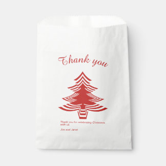 Thank you Red and White Christmas Tree Pattern Favour Bags