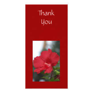 Thank You Red Hibiscus Personalized Photo Card