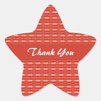 Thank You Red pattern Star Sticker
