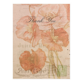 Thank You Red Pink Poppies Vintage Style Collage Postcard