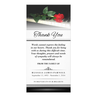 Thank You Red Rose on Piano - Words Cannot Express Customized Photo Card