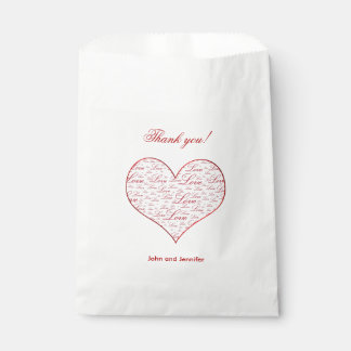 """Thank you""  Red Valentines Day ""Love"" Typography Favour Bags"
