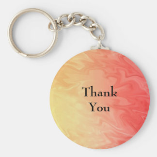 Thank You Red Yellow Texture Basic Round Button Key Ring