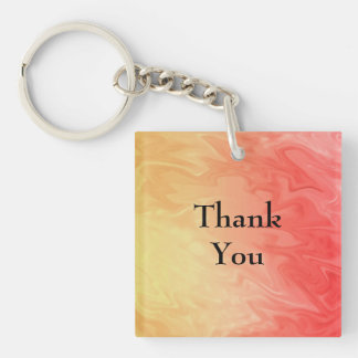Thank You Red Yellow Texture Double-Sided Square Acrylic Key Ring
