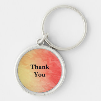 Thank You Red Yellow Texture Silver-Colored Round Key Ring