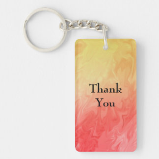 Thank You Red Yellow Texture Single-Sided Rectangular Acrylic Key Ring