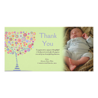 Thank You Retro Tree New Baby Gift Photocard Personalised Photo Card
