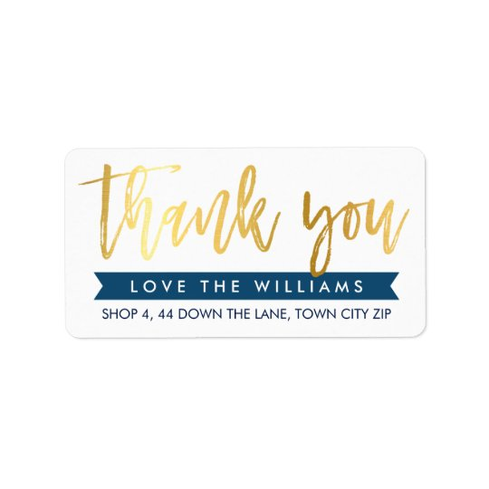 THANK YOU return address hand lettered gold navy Label