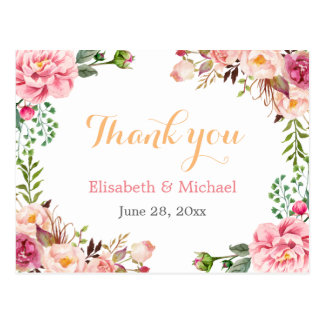 Thank You - Romantic Chic Floral Wrapped Postcard