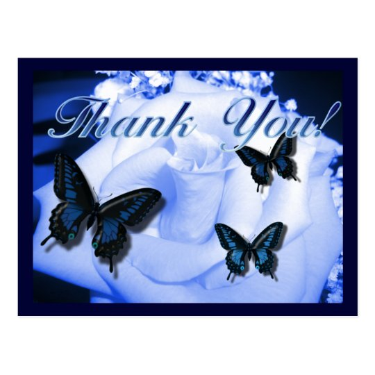 Thank You Rose & Butterflies Postcard