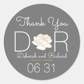 thank you . rose flower . gray wedding favor round sticker