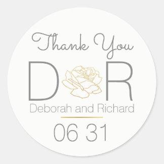 thank you . rose flower . wedding favor round sticker