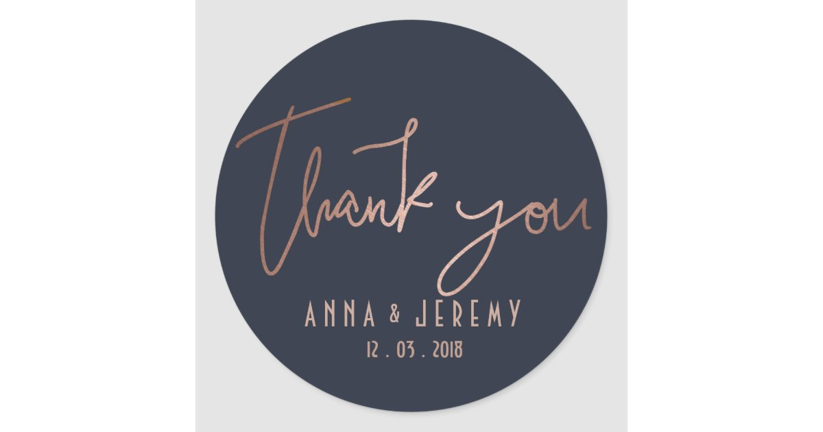 Thank You Rose Gold And Navy Blue Wedding Sticker Zazzle