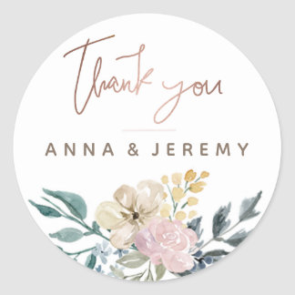 Thank you Rose Gold Floral Wedding Sticker