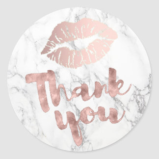 thank you rose gold lips on marble classic round sticker