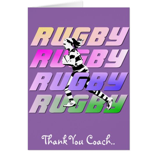 Thank You Rugby Coach greeting card