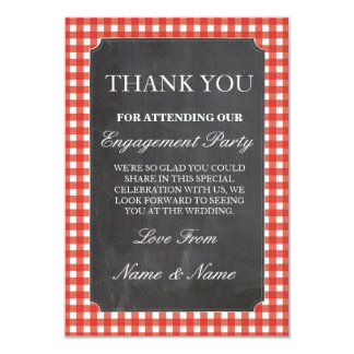 Thank You Rustic Cards Red Check Wedding Chalk