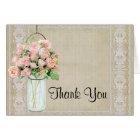 Thank You Rustic Country Mason Jar Blush Pink Rose Card