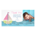 Thank You Sail Boat Birthday Party Photocard Customised Photo Card