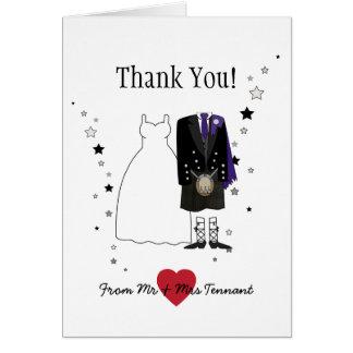 Thank You Scottish Bride & Groom purple Card