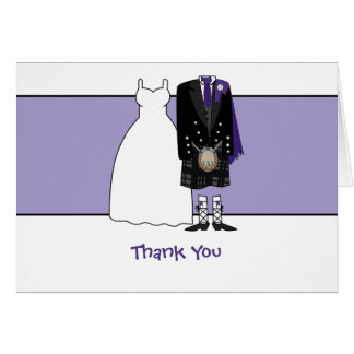 Thank You Scottish Wedding Bride & Groom - purple Card