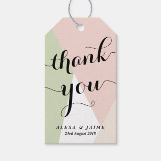 Thank You Script | Blush & Mint Geometric Pattern