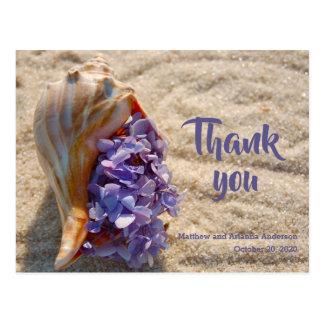 Thank You Sea Shell and Hydrangea Postcard