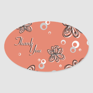 Thank You Seal - Black & White Floral Wedding Oval Stickers