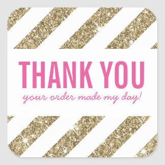 THANK YOU SEAL bold gold glitter stripe pink Square Sticker